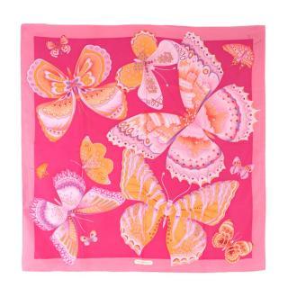 Salvatore Ferragamo Pink Silk Butterfly Scarf