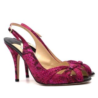 Jimmy Choo Snake Embossed Satin Sandals