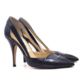 Jimmy Choo Navy Leather Cut-out Pumps