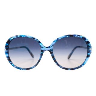 Tiffany & Co. Blue Tortoiseshell Rounded Sunglasses
