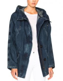Yves Salomon Blue Denim Removable Fur Lined Parka Coat