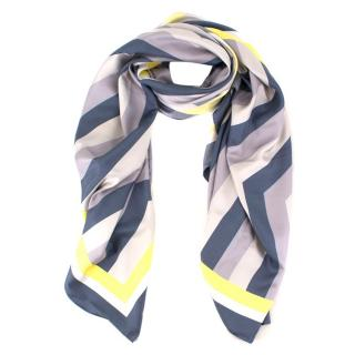 Anya Hindmarch Blue Striped Silk Scarf W/ Box