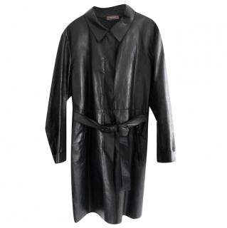 Prada Linea Rossa Black Leather Blend Trench Coat