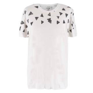 Saint Laurent White Triangle Print T-Shirt