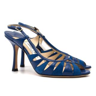Jimmy Choo Blue Leather & Suede Cut-out Slingback Sandals