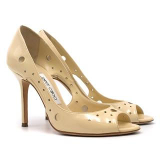 Jimmy Choo Yellow Patent Leather Cut Out Pumps