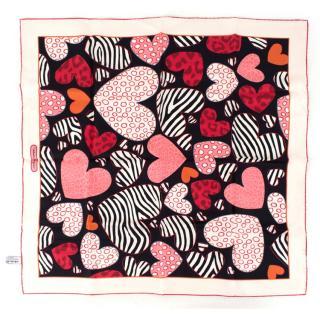 Salvatore Ferragamo Love Heart Patterned Silk Scarf
