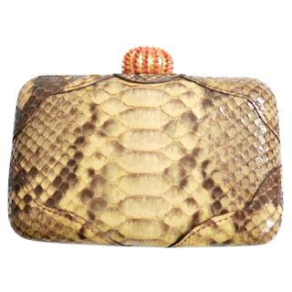 Muiik Jewelled Clasp Lacquered Snakeskin Minaudiere Clutch Bag