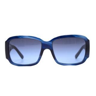 Salvatore Ferragamo Blue Square-Frame Sunglasses