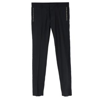DSquared2 Black Wool & Silk-blend Studded Pocket Tapered Trousers