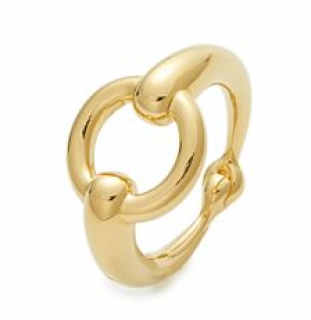 Hermes Gold Tone Horsebit Scarf Ring