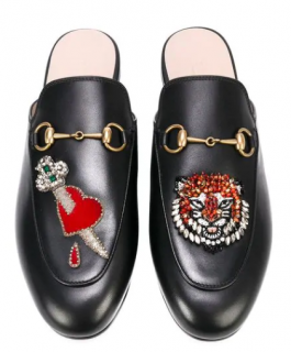 Gucci Heart & Tiger Applique Princetown Slippers