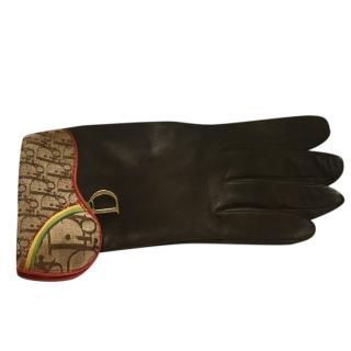 Christian Dior Saddlebag Trim Leather Gloves
