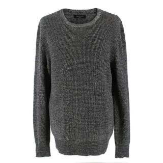 All Saints Dark-Grey Crew-Neck Jumper