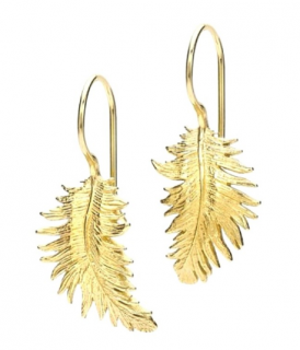 Dower & Hall Gold Vermail Leaf Earrings
