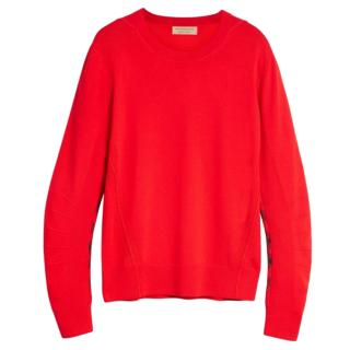 Current Season Burberry Men's Merino Wool Red Sweater