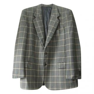 Valentino Uomo Green Yellow Beige Houndstooth Jacket