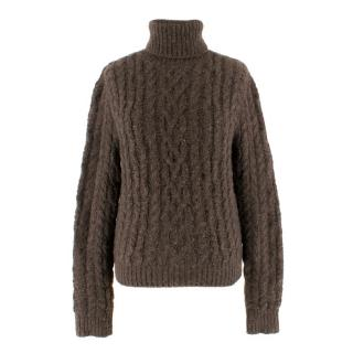 Ralph Lauren Collection Brown Cashmere Cable Knit Roll-neck Jumper
