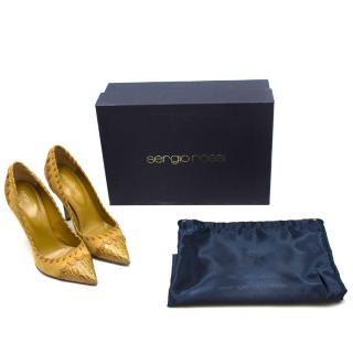 Sergio Rossi Mustard Suede & Croc Embossed Leather Pumps