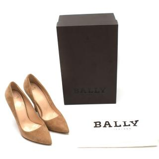 Bally Switzerland Biscuit Kid Suede Heels