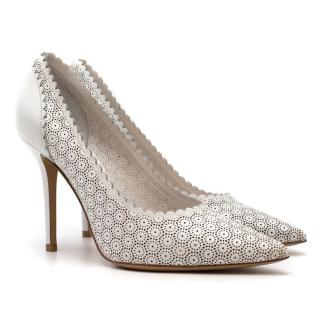 Salvatore Ferragamo White Scalloped Leather Susi Pumps