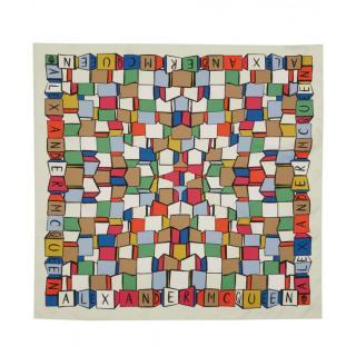 Alexander McQueen Silk Blend Cube-Print Scarf