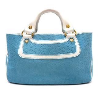 Celine Blue Suede Embossed Boogie Bag