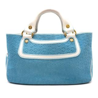 Celine Blue Suede Embossed Boogie Bag