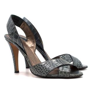 Salvatore Ferragamo Green Croc Embossed Leather Sandals