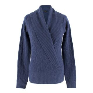 Ralph Lauren Blue Cashmere V-Neck Jumper