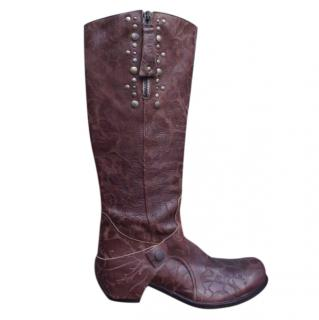 Ikks etched design chestnut leather knee high boots