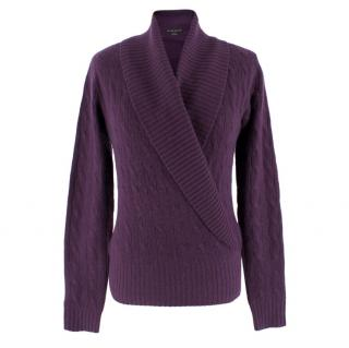Ralph Lauren Purple Cashmere V-Neck Jumper