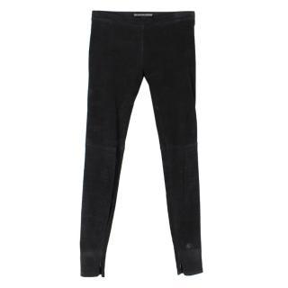 Balenciaga Black Leather Skinny Trousers