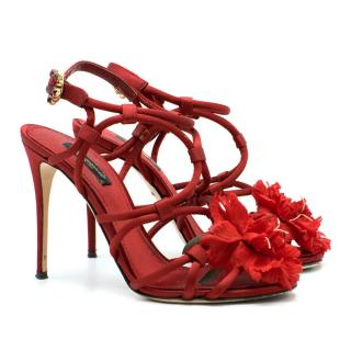 Dolce & Gabbana Satin Strappy Flower Embellished Sandals