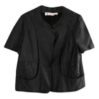 Marni Black Lamb Leather Short Sleeve Cropped Jacket