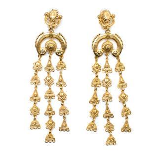 Oscar de la Renta Gold Tone Chandelier Earrings