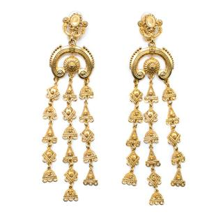 Oscar de la Renta Gold Tone Chandelier Earrings