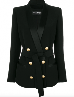Balmain Belted Double-Breasted Crepe Blazer - Current Season