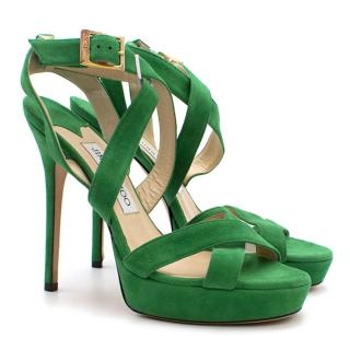 Jimmy Choo Green Suede Vamp Platform Sandals