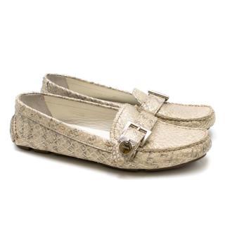 Prada Silver Snakeskin Loafers