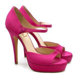 Yves Saint Laurent Pink Satin Platform Sandals