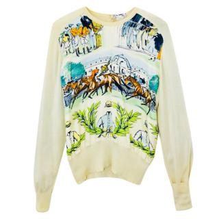 Hermes Iconic Horse-Print Silk and Cotton-Blend Jumper