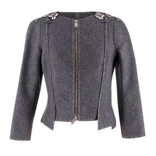 Dsquared2 Grey Wool-blend Asymmetric Embellished Jacket