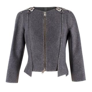 Dsquared2 Grey Wool-blend Asymmetric Embellished Jacket