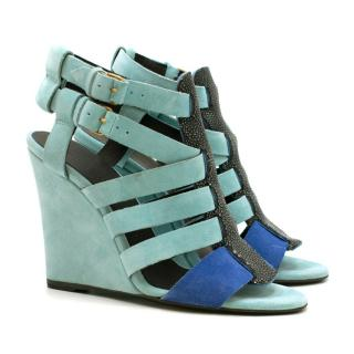Balenciaga Blue Suede Stingray Leather Strappy Wedges