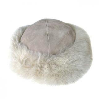 Dinah Fourrures Paris Suede Fox Trim Hat