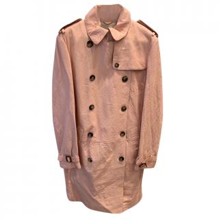 Burberry Pink Leather Trench Coat