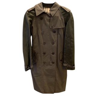 Burberry Traditional Military Waxed Gaberdine and Leather Trench Coat