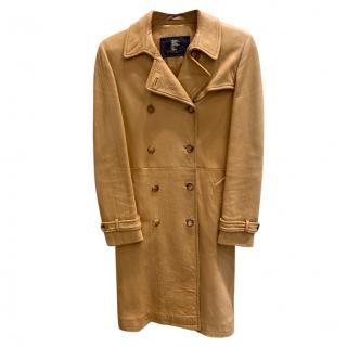 Burberry Tan Classic Leather Coat