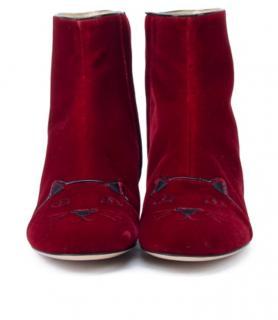 Charlotte Olympia velvet red kitty boots